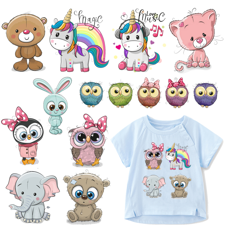 Cute Animal Patches Set Iron on Transfer Unicorn Owl Cat Dog Patches for Girl Kids Clothing DIY Heat Transfer Vinyl Stickers