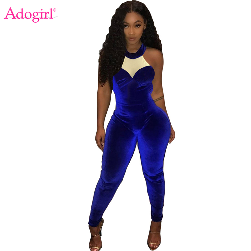 Adogirl Color Patchwork Royal Blue Velvet Jumpsuits Sleeveless Halter Women Romper 2018 Autumn Fashion Overalls Night Clubwear