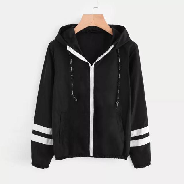 Autumn Women Contrast Ribbons Trim Zip Up Hooded Jacket Striped Patched Sleeve Girl Coat Outwear Windbreaker Jacket 4
