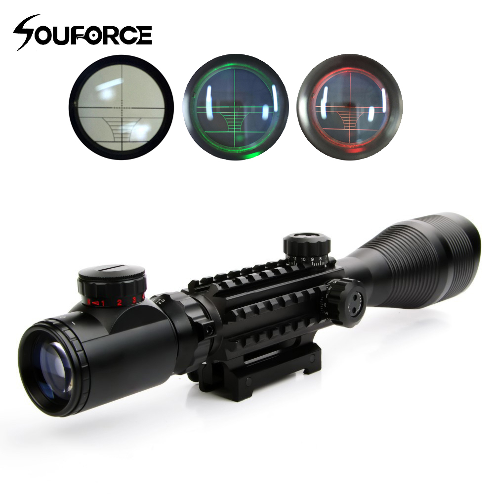 4-12*50YG Tactical Sniper Scope Riflescope with Red Green Rangefinder Illuminated Reticle 20mm Mount for Hunting Gun Airsoft mossy oka lb 3 9x32 hunting scopes tactical riflescope sniper scope outdoor tactical hunting gun with 11 20mm mount
