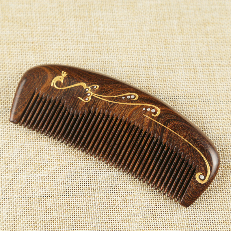 CSHOU02 Fine natural gold sandalwood comb
