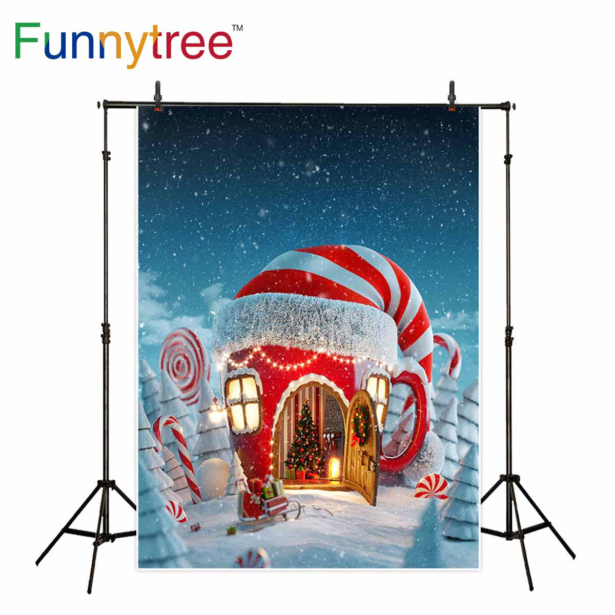 Funnytree backdrop for photo studio Christmas candy canes house winter snow fariy tale kids photography background photocall kate digital printing house under snow photography studio backdrop dreamlike background kate background backdrop