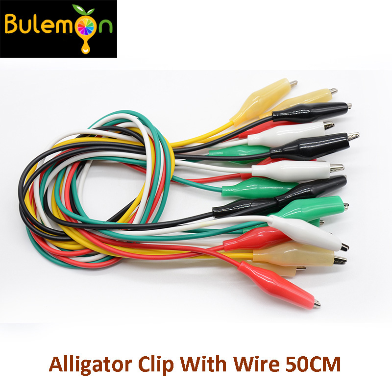 10pcs/lot Alligator Clip With Wire 50CM
