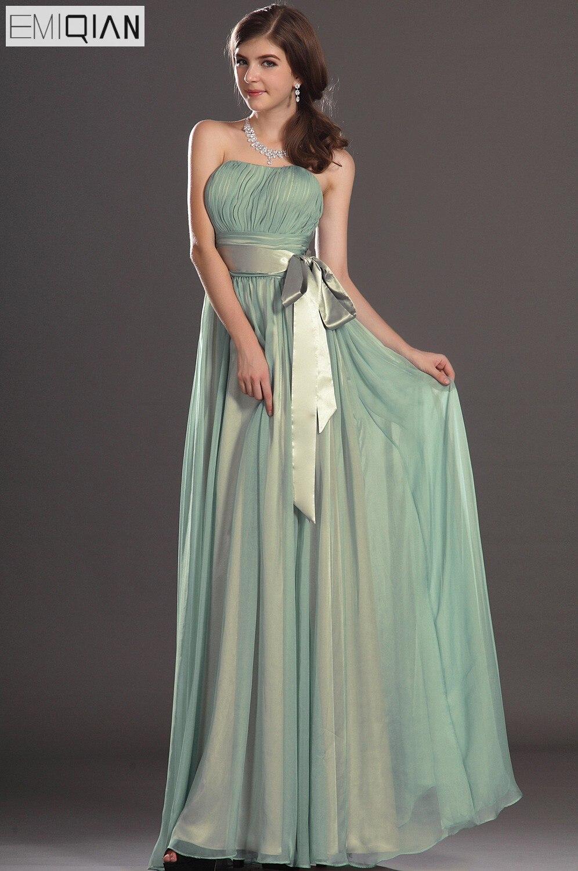 Customizable Strapless A Line Chiffon Long   Bridesmaid     Dress