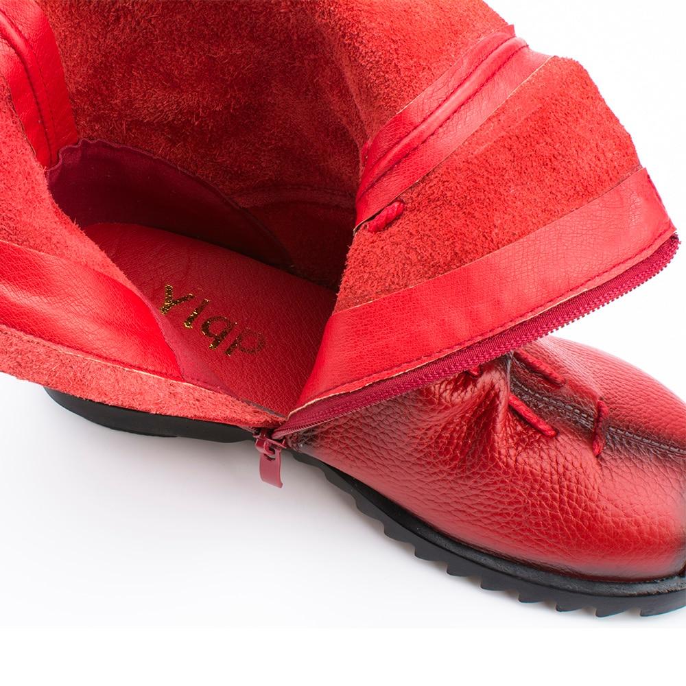 2018 vintage stijl lederen vrouwen laarzen platte laarsjes zachte - Damesschoenen - Foto 5