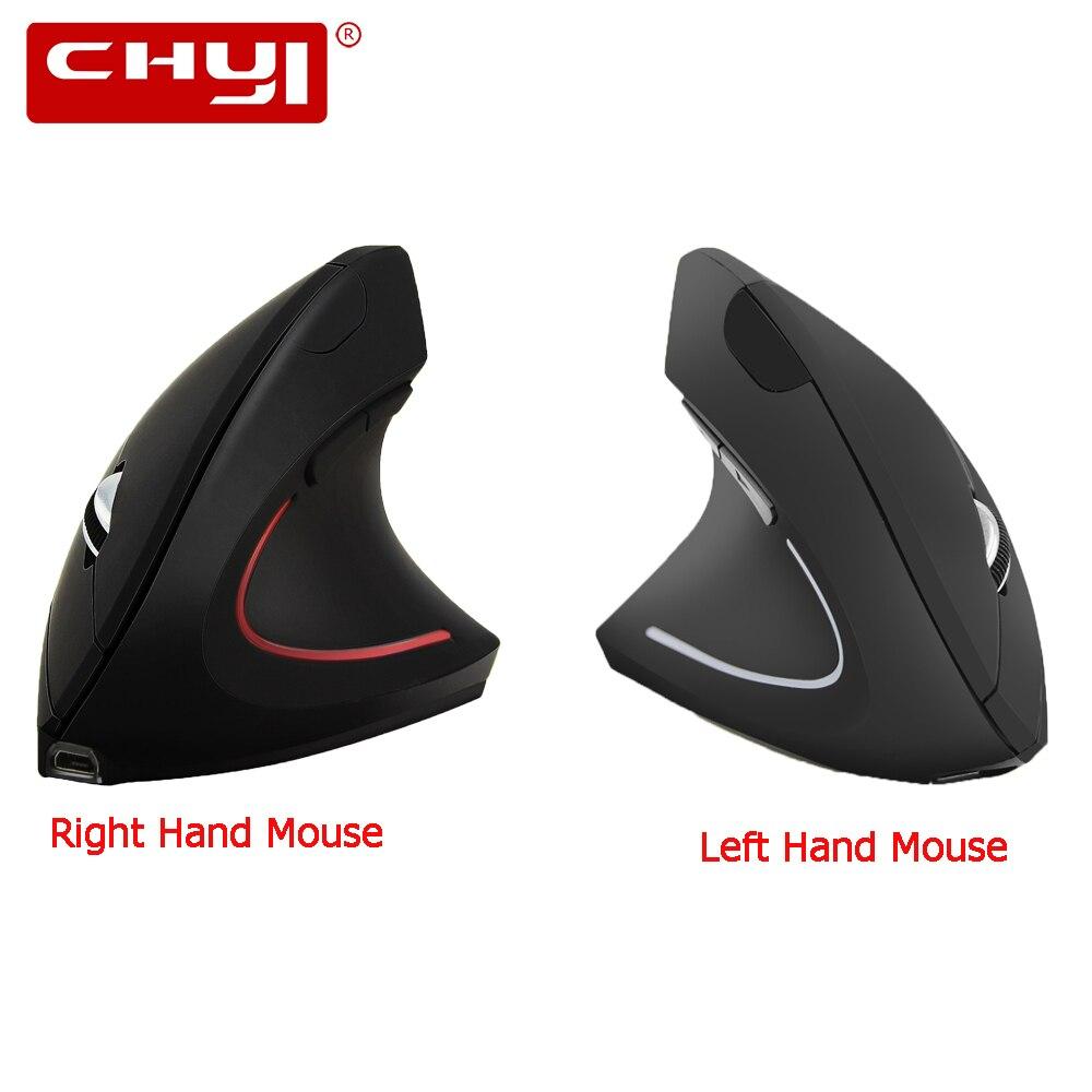 CHYI ratón inalámbrico recargable ergonómico Vertical derecha/mano izquierda ratones 1600 dpi óptico USB Juegos de ordenador Mause para PC jugador