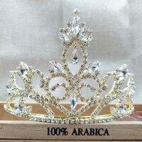 3.6 inch Hot Europeia Projetos pendentes de ouro Tiara de Cristal Do Vintage grande pageant Crown Tiara Nupcial Do Casamento Acessórios