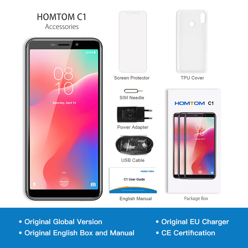 Image 5 - Global Version HOMTOM C1 16GB 5.5Inch Mobile Phone 13MP Camera Fingerprint 18:9 Display Android 8.1 MT6580A Unlock Smartphone-in Cellphones from Cellphones & Telecommunications
