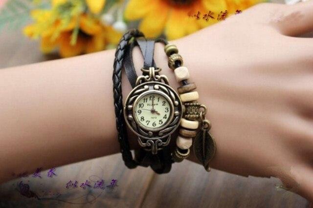 Fashion Vintage Leaf PU Leather Band Women Quartz Bracelet Watches 4