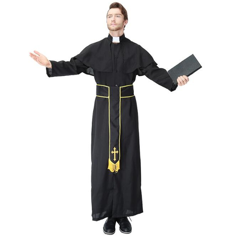 Deluxe Quality Mens Priest Plus Costume Halloween Adult Party Cosplay Clothing