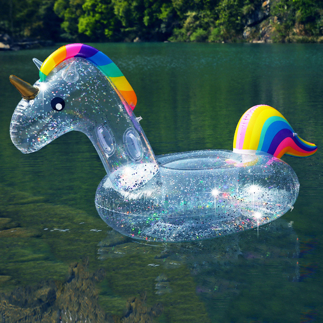 180cm Giant Inflatable Magical Pool Float with Glitter Inside Unicorn Swimming Ring Seat Boat Water Sport Buoy Floating Mattress