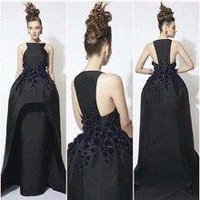 Elegant Black Satin Mantel Abendkleider Sleeveless Gericht Zug Robe De Soiree Lange Frauen Formale Kleider