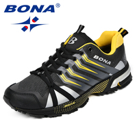 BONA New Classics Style Men Running Shoes Cow Split Mesh Men Sport Shoes Outdoor Jogging Shoes Comfortable Sneakers Light Soft