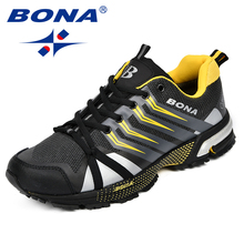 BONA New Classics Style Men Running Shoes Cow Split Mesh Men