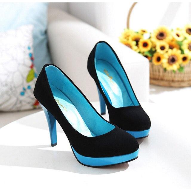 Tamanho grande 34-43 mulheres sapatos de Couro Nubuck Primavera/Outono bombas de salto Alto fino Slip-On Rodada Toe moda bombas Senhora Do Escritório