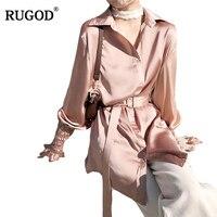RUGOD Spring Vintage Casual Belt Tunic Women Shirt Elegant Long Sleeve Cotton Female Blouse Stylish Oversized Work Wearing Blusa