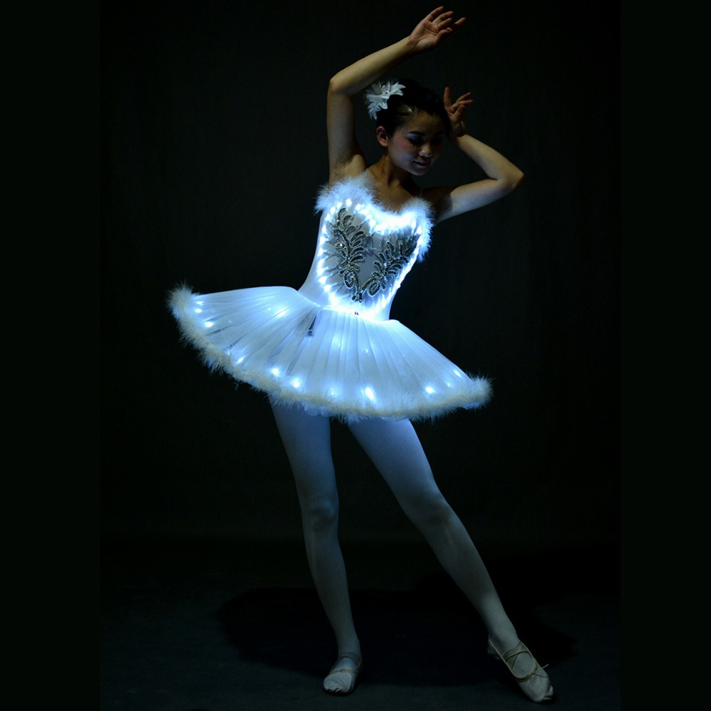 Led Light White Swan Lake Ballet Dress Girls Kids Women Fluorescent Night Club Clothes Halloween Party Stage Show Dance Costume