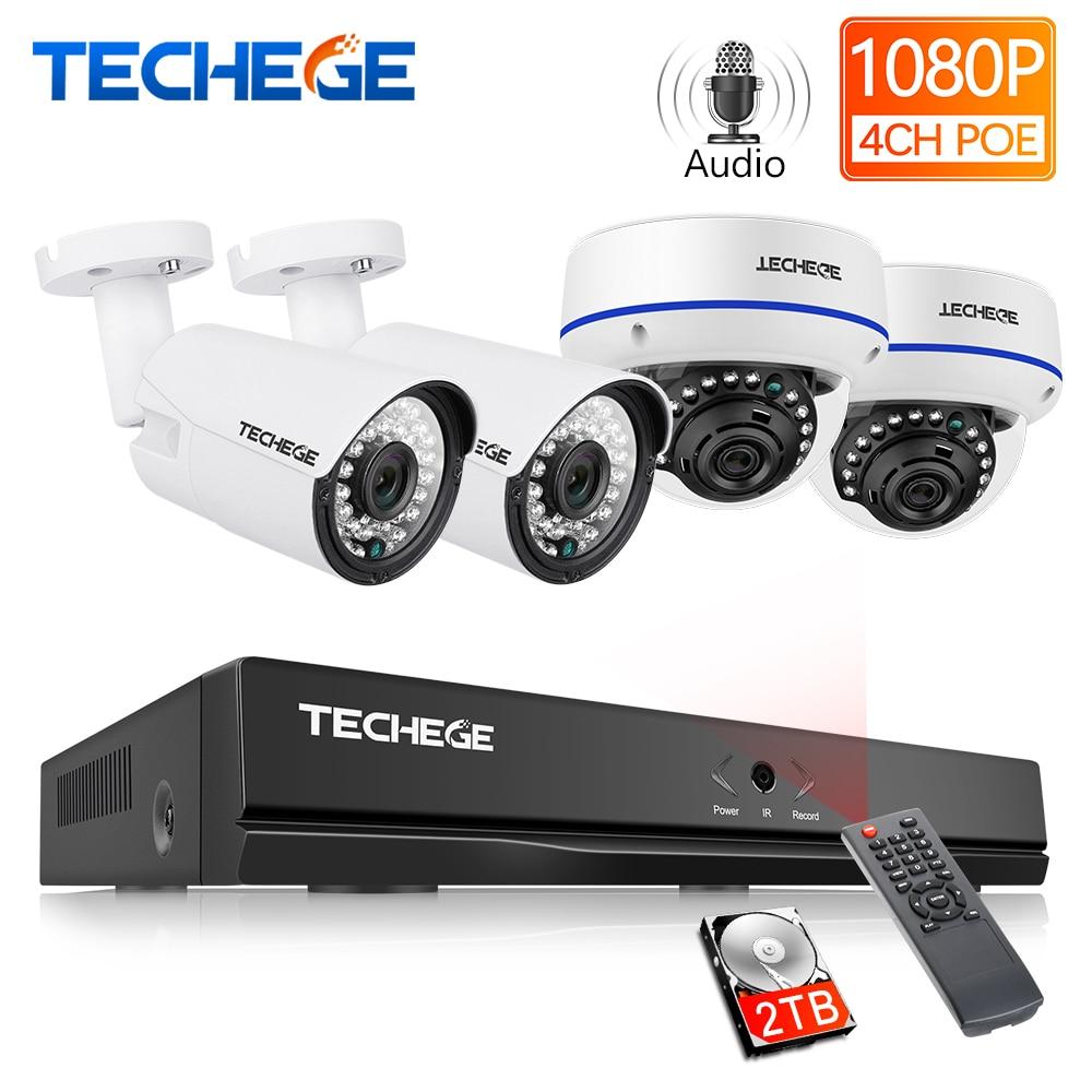 Techege 4CH 1080P H 265 POE NVR Audio Video System 2MP Indoor Outdoor IP Camera Waterproof