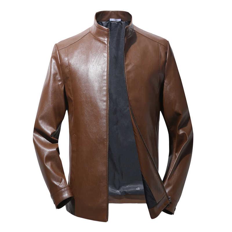 QUANBO 2019 Новая мужская Тонкая кожаная куртка Slim Fit Красивая мотоциклетная мужская кожаная куртка высокая имитация овечьей кожи мужские пальто