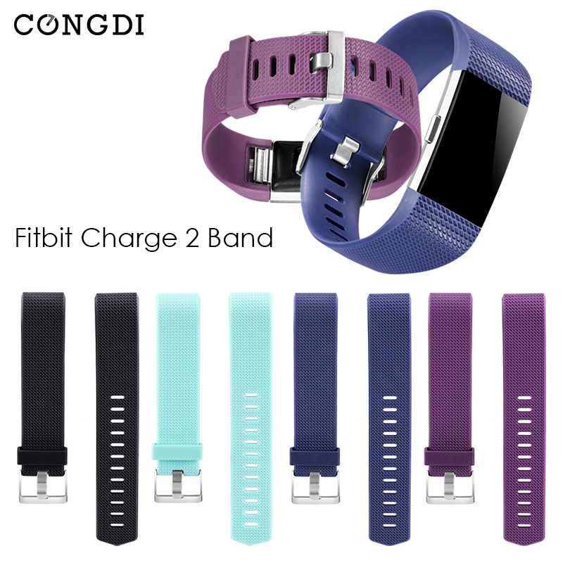 Replacement Wrist Strap Bracelet Soft Silicone For Fit bit Charge 2 Band Watch Charge 2 Heart Rate Smart Square and diamond