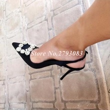 Ladies Shoes Woman Crystal Buckle Strap Pumps High Heels Slingback Satin Sapato Feminino Black Pointed Toe Cut-out Wedding Shoes pink satin wedding sandal pumps crystals ankle strap satin bow back high heels peep toe cut out bridal party shoes real photo