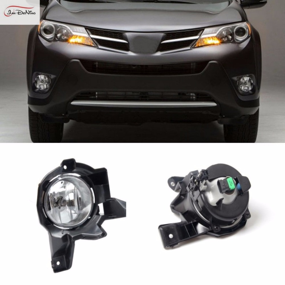 JanDeNing Car Fog Lights For 2013-2015 Toyota RAV4 Clear Front Fog Lamp Cover Trim Replace Assembly kit black (one Pair) car fog lights lamp for mitsubishi triton 2 door 2009 on clear lens pair set wiring kit fog light set free shipping