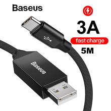 Baseus 5m Extra Long USB type C Quick Charging Cable 5V/3A 15W Type-C USB-C Fast Cord For Huawei Saumsung Xiaomi