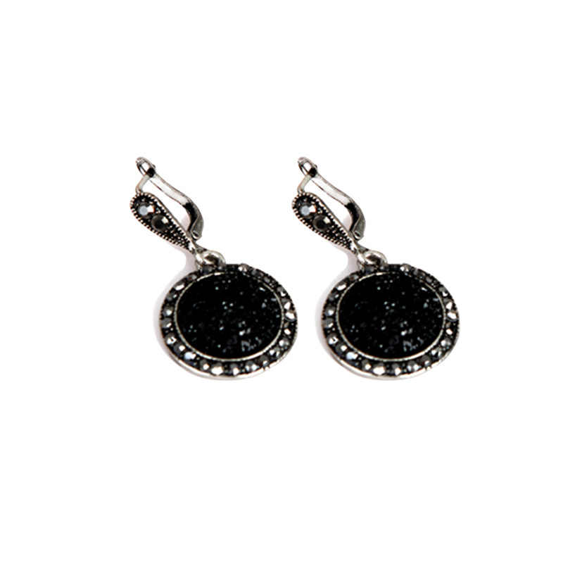 2019 style chaud ensemble de bijoux de haute qualité à la mode noir anneau collier boucles d'oreilles trois pièces ensemble en gros cadeau