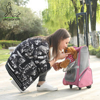 CARRYLOVE Foldable pet Rolling Luggage Spinner Cat/dog Suitcase Wheels 20 inch Carry on Trolley pets Shoulder Travel Bag