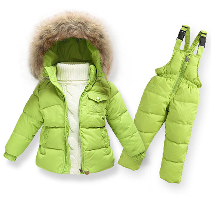 Children Winter Girls Clothing Sets Ski Suit Boys Clothes Down Girl Jacket Coat + Jumpsuit Set Warm Outerwear Kids Baby Overalls 2016 winter boys ski suit set children s snowsuit for baby girl snow overalls ntural fur down jackets trousers clothing sets