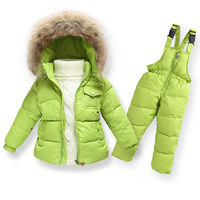 Clearance Winter Girls Clothing Sets Ski Suit Boys Clothes Down Girl Jacket Coat + Jumpsuit Set Warm Outerwear Kids Baby Overall