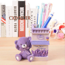 Cxd Nicer Purple Lavender Resin Cute Bear Desk Accessories Pencil Holder Stand