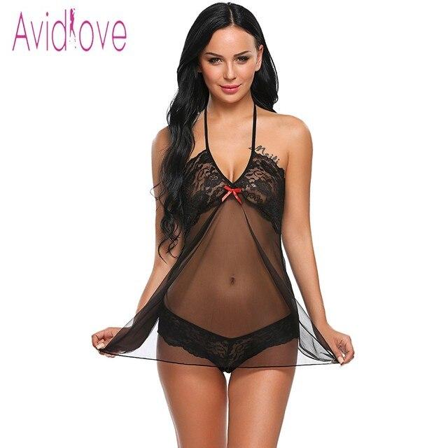 Avidlove Lingerie Sexy Hot Erotic Porn Babydoll Vestido Mulheres  Transparente Lace Floral Noite Chemise Lingerie Roupas f1527e60bd5