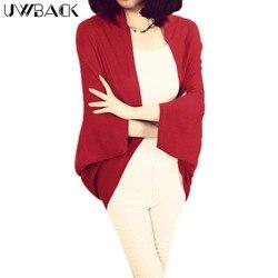 Uwback 2018 Новый брендовый зимний кашемировый свитер женский красный кардиган женский Болеро свитера Mujer рукав «летучая мышь» OB031