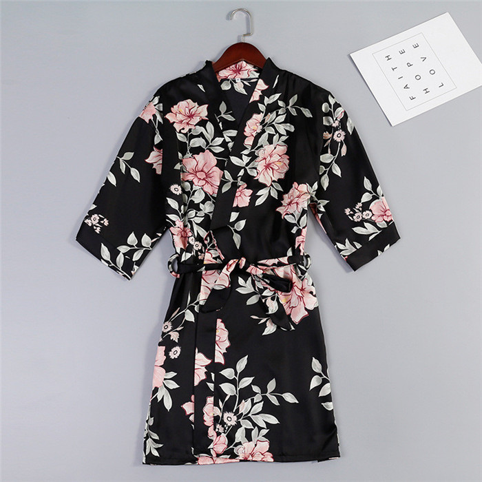 New Women Satin Wedding Bride Bridesmaid Robe Floral Bathrobe Sexy Short Kimono Robe Nightgown Bathrobe Print Sleepwear M-XXL
