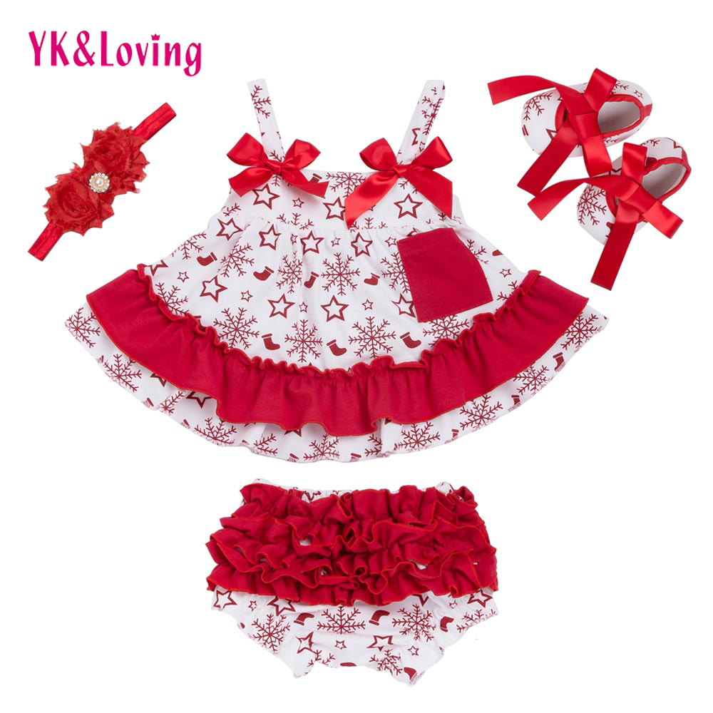 Summer Style Christmas Baby Swing Top Baby Girls Clothing Set Infant Ruffle Outfits Bloomer Headband Newborn Girl Clothes Sets girls ruffle trim top and overalls set with headband