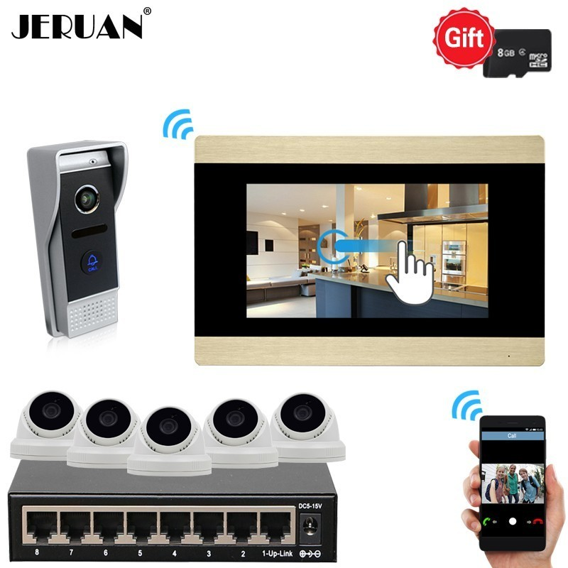 JERUAN 720P AHD HD IP WIFI 7 Inch Touch Screen Video DoorPhone Intercom System Kit Record Monitor With 5 Pcs 2.0MP IP Cameras jeruan ip wifi 7 inch touch screen video doorbell intercom system kit 720p ahd record monitor ir coms camera support android ios
