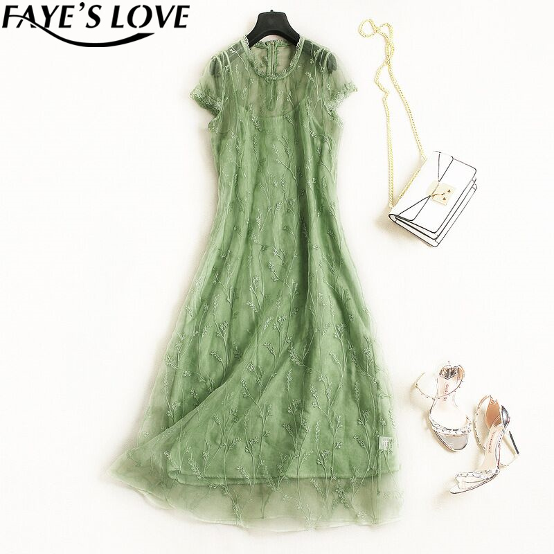 FAYE'S LOVE new spring/summer 100% Organza real silk dress,high qualiOrganza silk dress,reall Organza silk dress,F2848