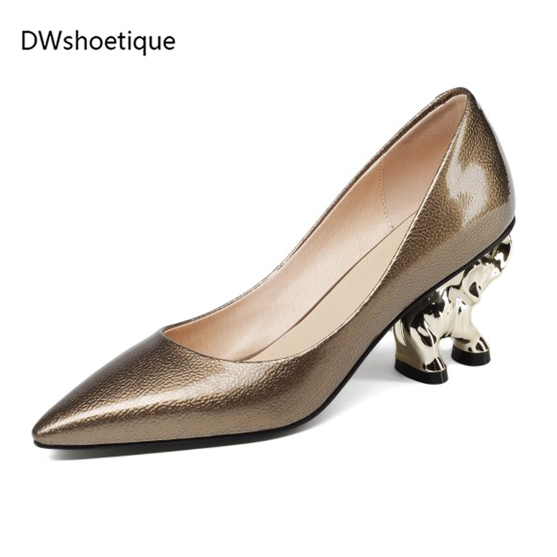 women spring pumps fashion elephant heels genuine leather