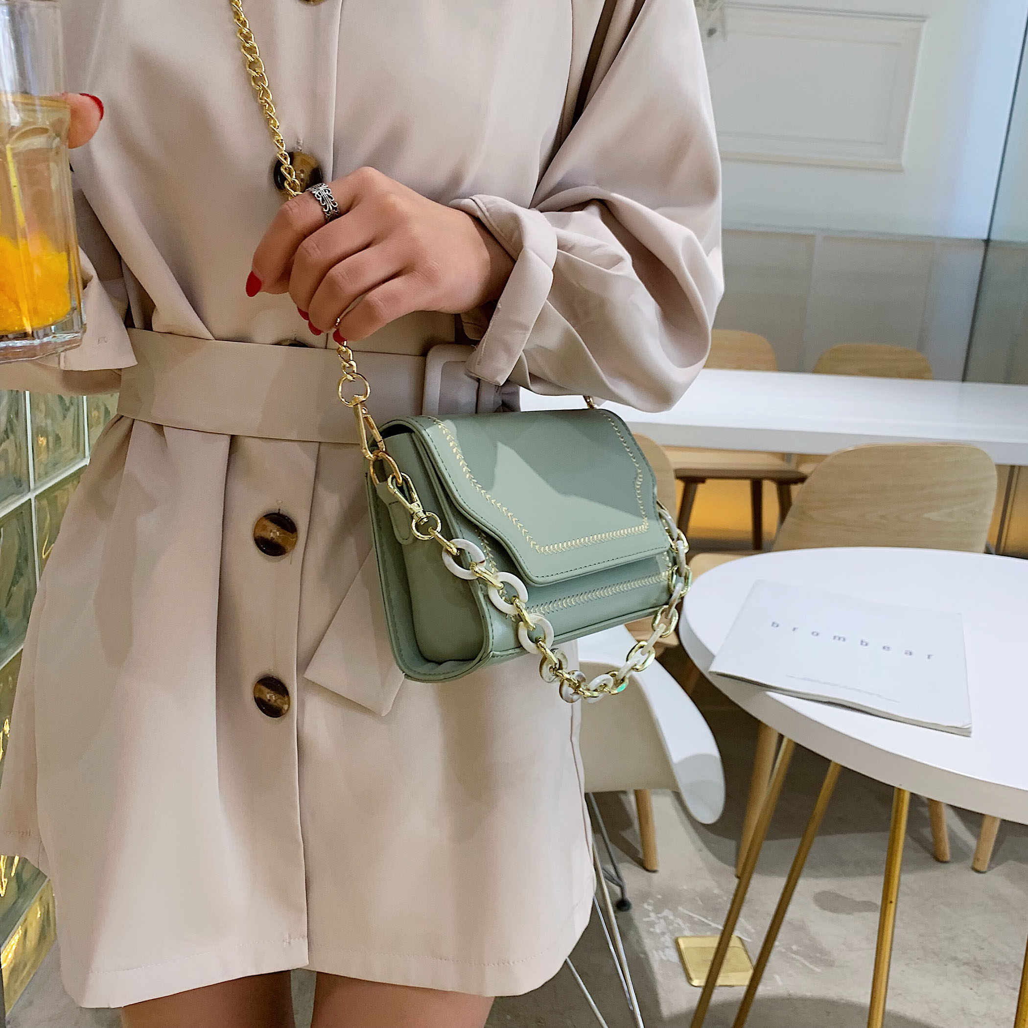 Wheat Embroidery Crossbody Bags For Women 2019 PU Leather Messenger Shoulder Bag Lady Purses and Handbags Chain Design