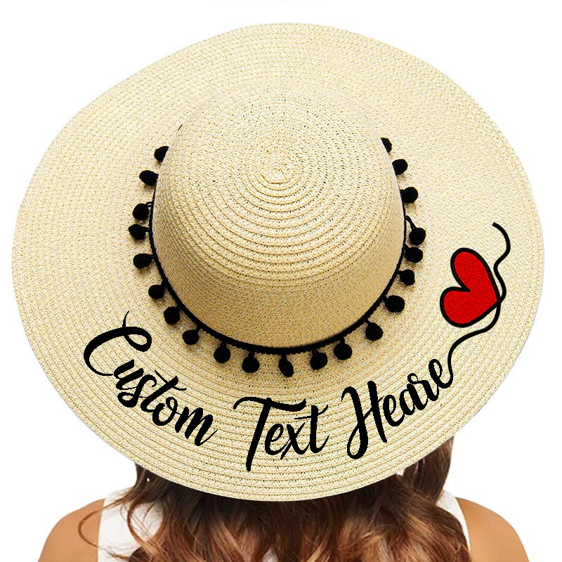 Embroidery Personalized Custom Your Name Text Logo Text Women Sun Hat Large Brim Straw Hat Outdoor Beach Hat Black Pompon Caps
