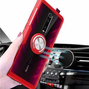 Image 5 - עבור שיאו mi mi 9 T mi 9 T פרו מקרה יוקרה מגנטי טבעת שקוף ברור זכוכית חזרה כיסוי עבור אדום mi K20 פרו רכב מחזיק Stand מקרי