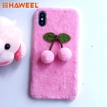 HAWEEL 3D Fur Ball Cherry Plush Case For iPhone X XS MAX XR Shell Guard Cover 2 Color to Choose