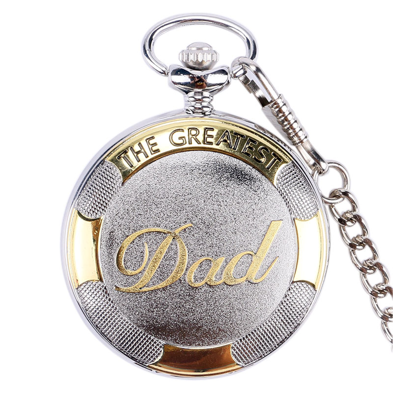 Silver The Greatest Dad Pocket Watch Chain Pendant Quartz Pocket Watch Best Gift For Dad Father's Day Present From Duaghter/Sons
