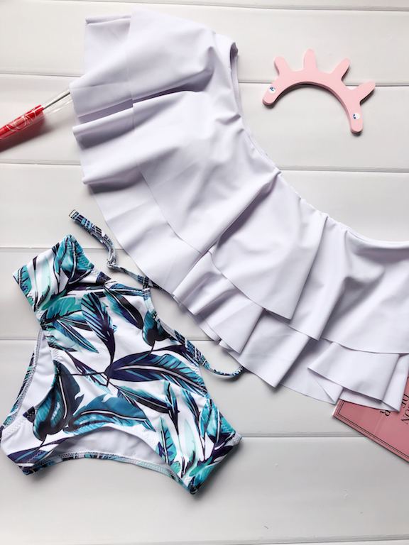 Hot 2017 Donne Foglia di Loto Sexy Bikini A Vita Alta Set Swimsuit Swimwear Costume Da Bagno Beachwear Bikini