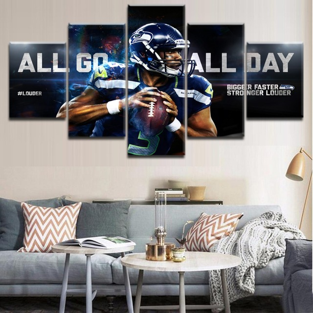 Canvas Painting Living Room Wall Art 5 Panel Sports Seattle Seahawks ...