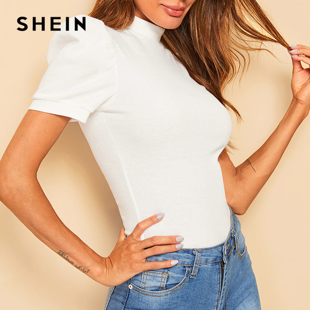 SHEIN Office Lady White Mock-neck Puff Sleeve Solid Top T Shirt Summer Solid Basic Short Puff Sleeve Elegant Tshirt Ladies Tops 4
