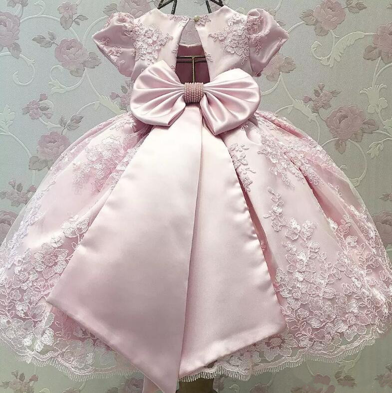 New Pink Lace Baby Girls Birthday Dresses Crew Neck Flower Girl Dresses For Weddings Size 12M 18M 24M