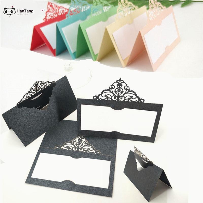 100PCS/lot Place Cards Wedding Name Cards Party Elegant   Decorative Table Seat Decoration Laser Cut Guest Card 6ZSH873 number