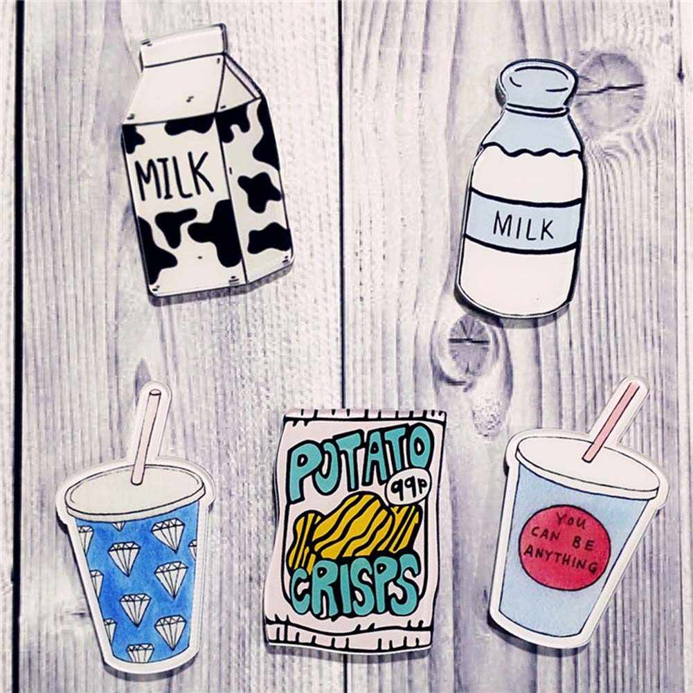 1 PC DIY Cute Food Drink Ice Cream Milk Pizza Acrylic Badge Children Brooch Lapel Pin Enamel Pins Backpack Bag Accessories